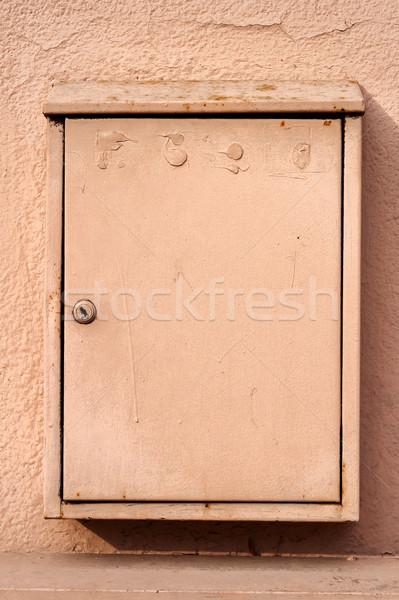 Bege postar caixa parede metal Foto stock © Taigi