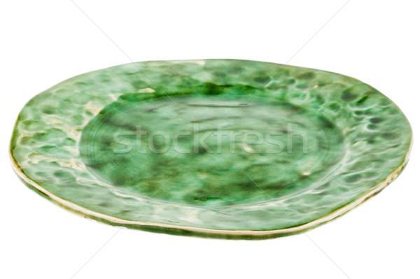 Yeşil el yapımı çanak çömlek plaka yalıtılmış beyaz Stok fotoğraf © Taigi