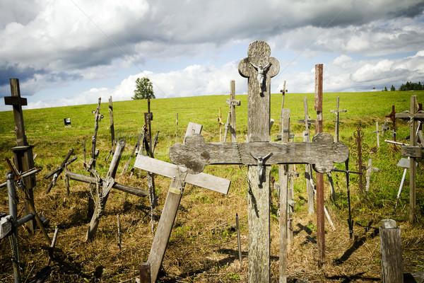Heuvel kruisen beroemd plaats bedevaart noordelijk Stockfoto © Taigi