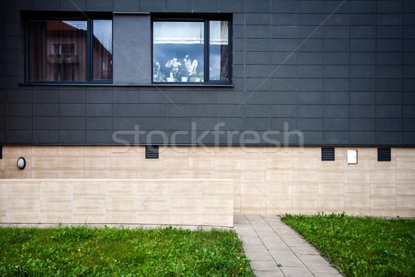 Moderne muur tegel achtergrond venster groene Stockfoto © Taigi