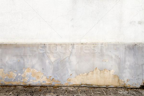Starych gipsu ściany wyblakły biały ziemi Zdjęcia stock © Taigi