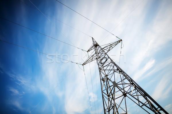 высокое напряжение электроэнергии Blue Sky металл сеть синий Сток-фото © Taigi