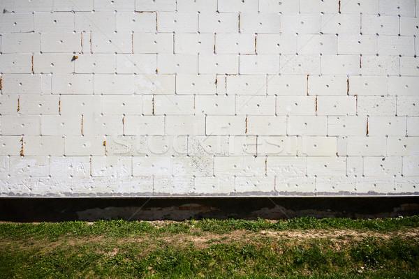 Foto stock: Parede · branco · casa · grama · construção · fundo