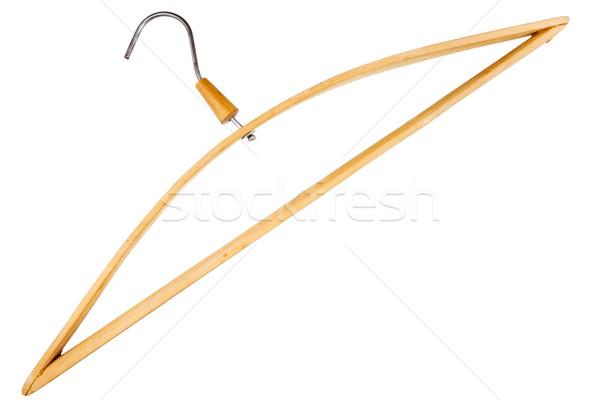 Houten kleerhanger geïsoleerd witte hout pak Stockfoto © Taigi