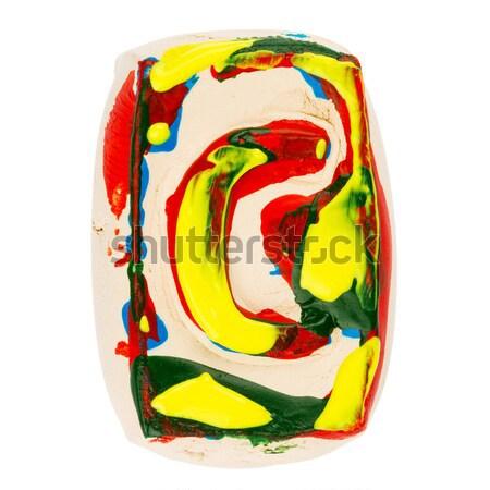 Színes kézzel készített fehér agyag o betű festett Stock fotó © Taigi