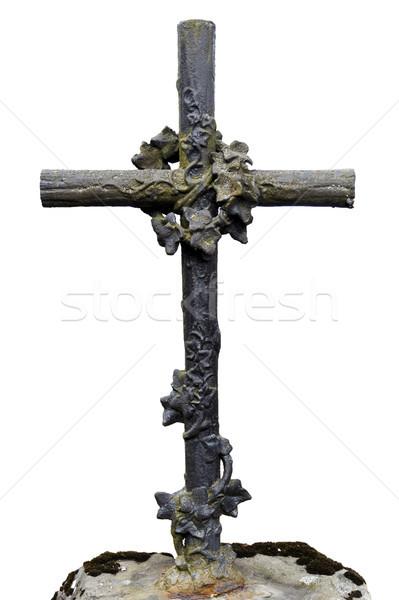 старые металл крест декоративный изолированный белый Сток-фото © Taigi