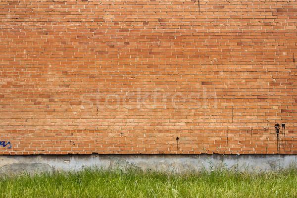 Piros téglafal zöld fű ház textúra épület Stock fotó © Taigi