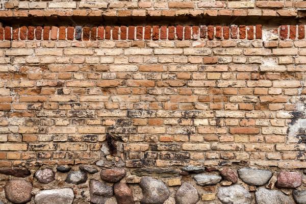 Amarillo pared de ladrillo piedra sótano casa textura Foto stock © Taigi