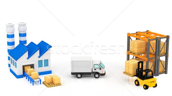 Logisztika épület teherautó doboz épületek ipari Stock fotó © taiyaki999
