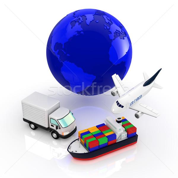 物流 世界 背景 地球 トラック 飛行機 ストックフォト © taiyaki999