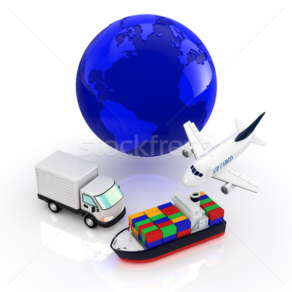 Logistique monde fond terre camion avion Photo stock © taiyaki999