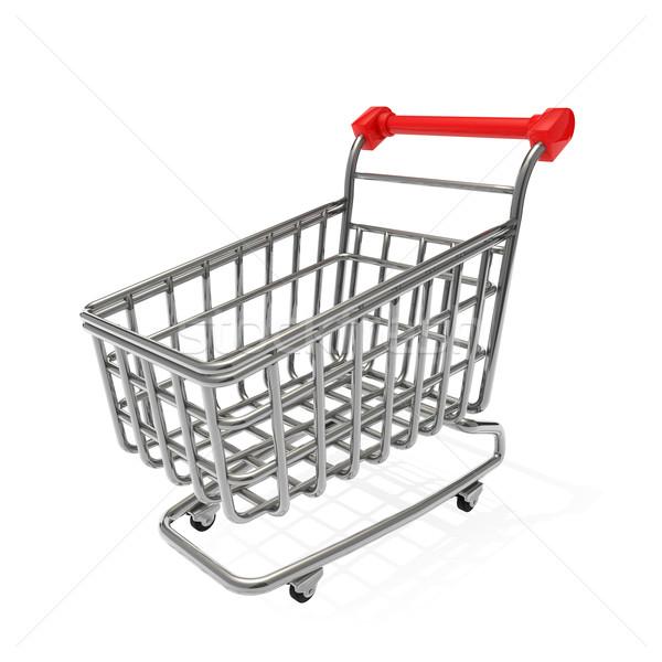 Bevásárlókocsi fém piac áruház bolt fehér Stock fotó © taiyaki999