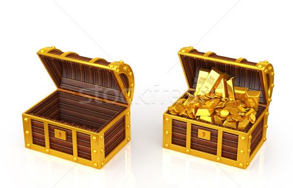Kincs doboz fém siker fehér antik Stock fotó © taiyaki999
