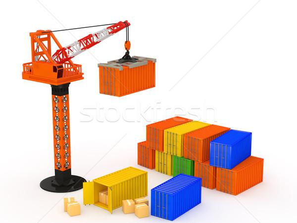 логистика контейнера крана белый транспорт торговли Сток-фото © taiyaki999