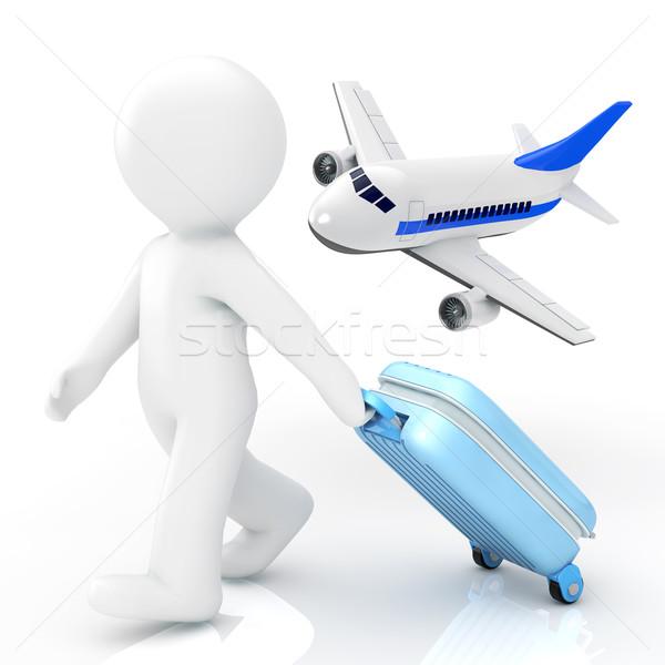 旅人 背景 平面 白 スーツケース 人 ストックフォト © taiyaki999