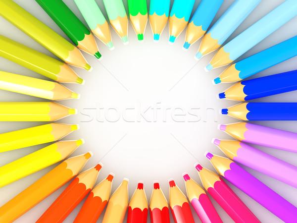 Szín ceruza háttér csoport rajz színek Stock fotó © taiyaki999