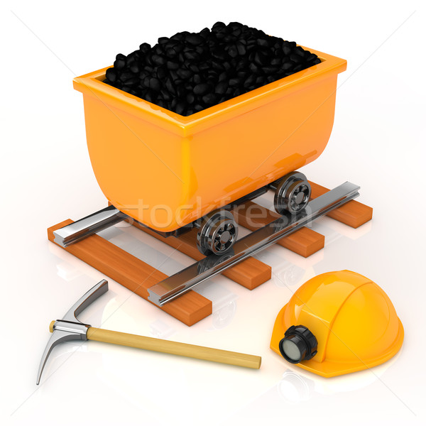 The mining equipment and Dolly on white background Stock photo © taiyaki999