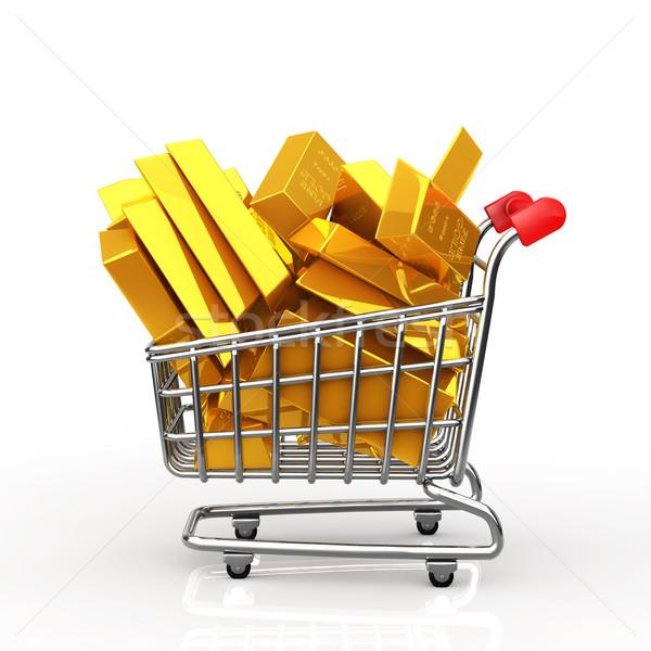 Shopping cart full of gold bar Stock photo © taiyaki999