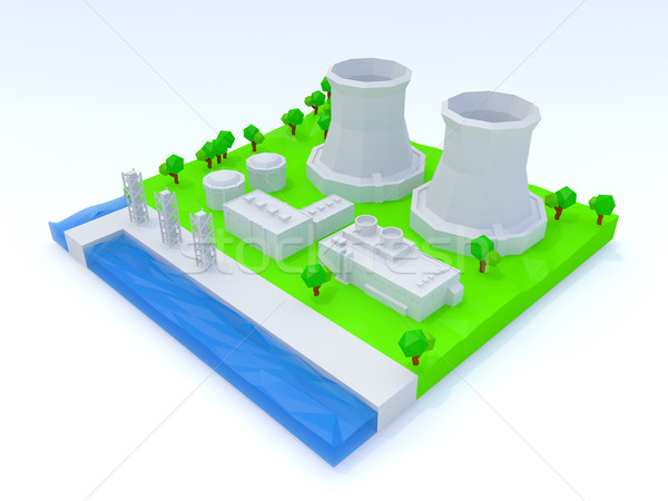 Nuclear power plant Stock photo © taiyaki999