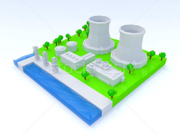 Nucleaire energiecentrale gebouw industrie energie plant Stockfoto © taiyaki999