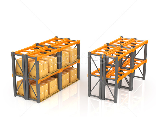Warehouse with stacked boxes on pallets Stock photo © taiyaki999