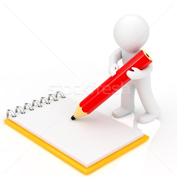 ストックフォト: 人 · メモを取る · ビジネス · 紙 · ペン · 鉛筆
