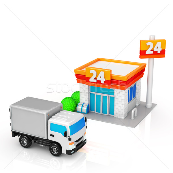 Levering vrachtwagens gemak winkel vrachtwagen store Stockfoto © taiyaki999
