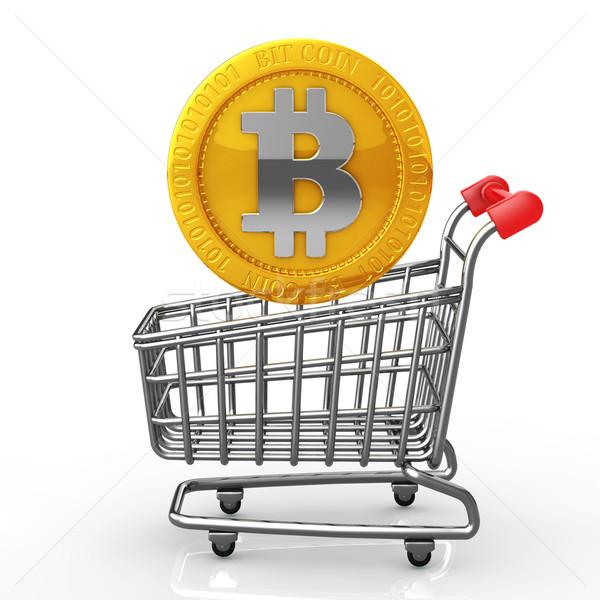 купить бит монеты Корзина монетами белый Сток-фото © taiyaki999