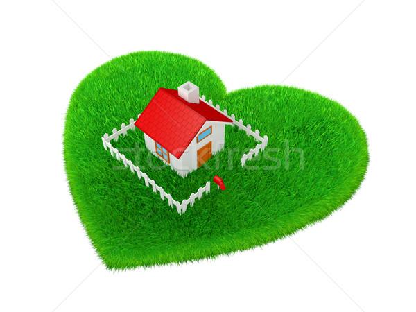 Kép ökológia lakásügy ház forma szív Stock fotó © taiyaki999