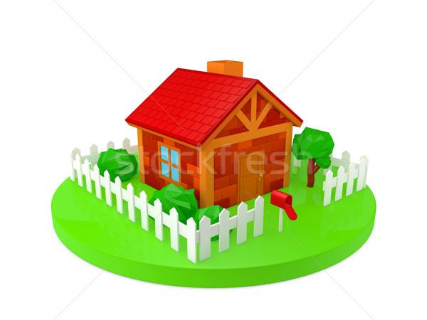 дома модель домой саду двери забор Сток-фото © taiyaki999
