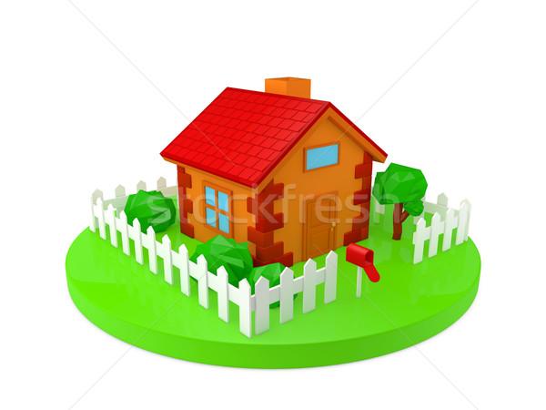 Ház tégla modell otthon kert ajtó Stock fotó © taiyaki999