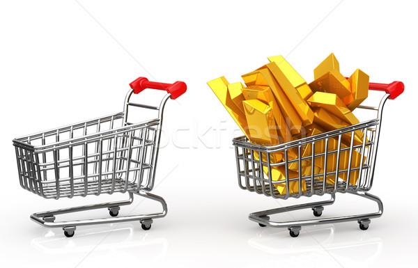 Bevásárlókocsi tele aranyrúd vásárlás bolt piac Stock fotó © taiyaki999