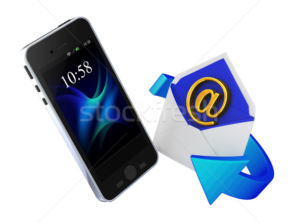 Email okostelefon fehér telefon technológia mobil Stock fotó © taiyaki999