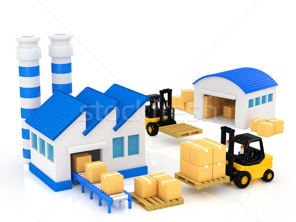Fabrico edifício edifícios fábrica industrial serviço Foto stock © taiyaki999