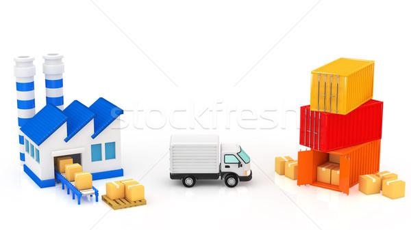 Logisztika épület doboz épületek ipari szolgáltatás Stock fotó © taiyaki999