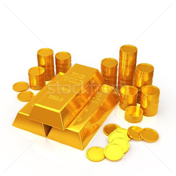 Arany rácsok arany érmék bár pénzügy bank Stock fotó © taiyaki999