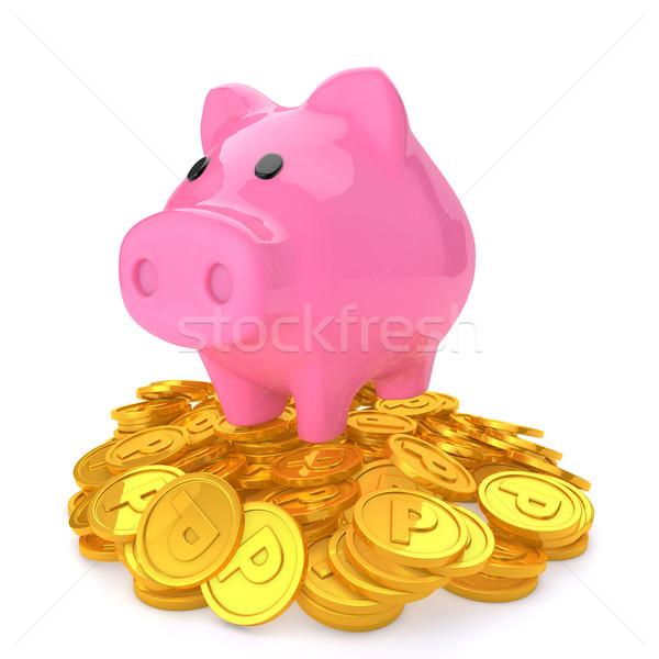 Persely felső pont érmék pénz boldog Stock fotó © taiyaki999