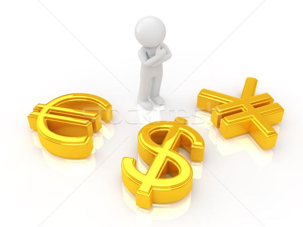 Valuta szimbólum személy gondolkodik pénz fém Stock fotó © taiyaki999