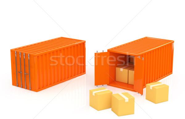 Konténer fém doboz ipari raktár szállítás Stock fotó © taiyaki999