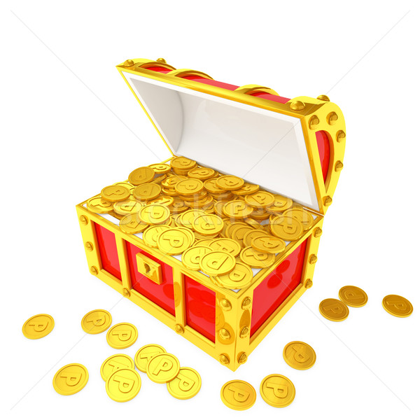 Treasure chest filled with point coins Stock photo © taiyaki999