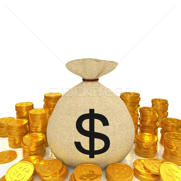Dollár táska arany érme felirat arany pénz Stock fotó © taiyaki999