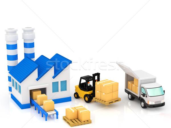 Logistica costruzione camion finestra edifici industriali Foto d'archivio © taiyaki999