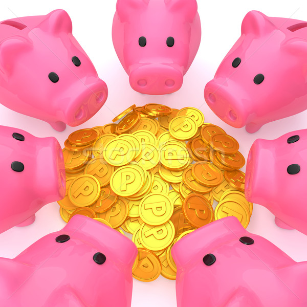Stock photo: Piggy bank surrounding the point coins