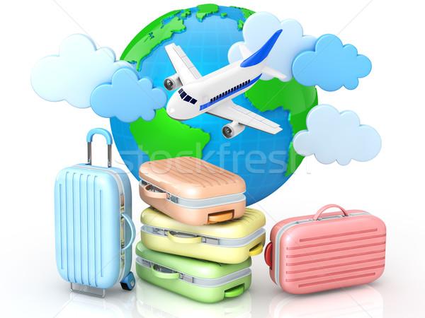 Utazás kép utazás repülőgép táska bolygó Stock fotó © taiyaki999