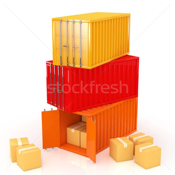 Konténer üzlet fém doboz ipari raktár Stock fotó © taiyaki999