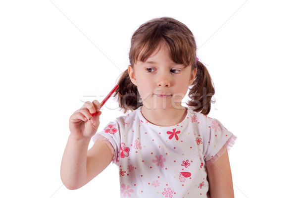 девушки рисунок Cute девочку воздуха карандашом Сток-фото © Talanis