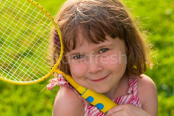 Bonitinho pequeno badminton jogador little girl Foto stock © Talanis