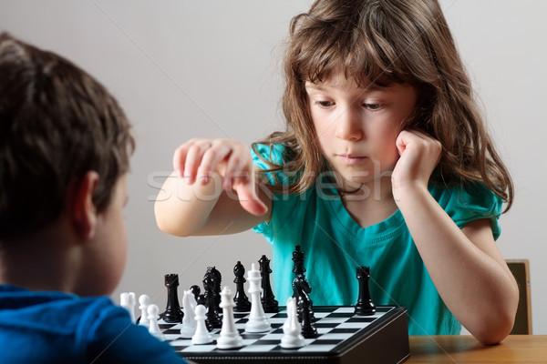 少女 少年 演奏 チェス かわいい 女の子 ストックフォト © Talanis