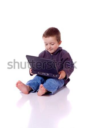 かわいい 少年 ノートパソコン 座って コンピュータ ストックフォト © Talanis