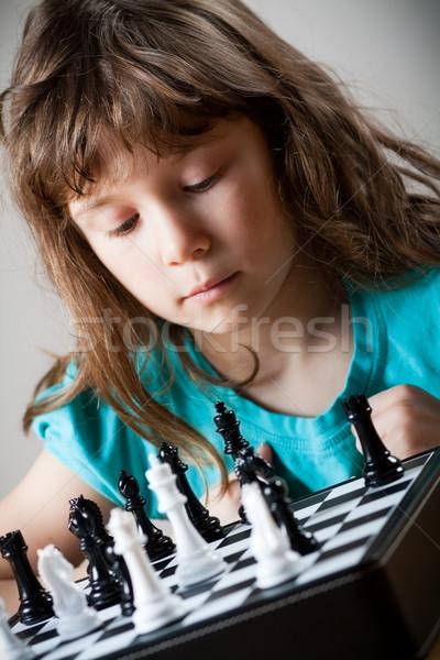девушки играет шахматам Cute девочку ребенка Сток-фото © Talanis